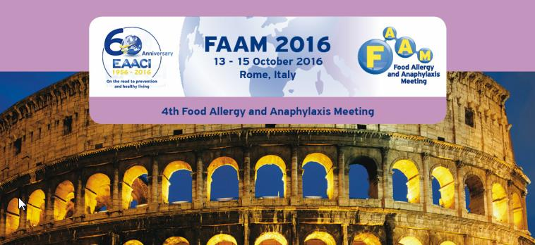 FAAM 2016 - 4th Food Allergy and Anaphylaxis Meeting