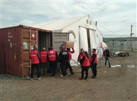 Ομάδα επαγγελματιών και εθελοντών των Τμημάτων Ελληνικού Ερυθρού Σταυρού Κιλκίς και Θεσσαλονίκης στο πλευρό των προσφύγων.
