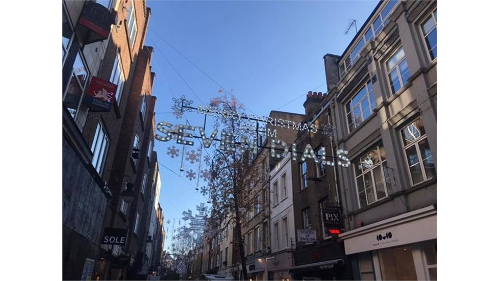 Christmas decorations at Seven Dials in central London
