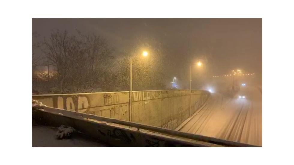 Μουδανίων έξοδος Θεσσαλονίκης για Χαλκιδική.Live με χιονοθύελλα.