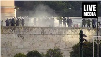 Clashes broke out during today's rally in Athens.