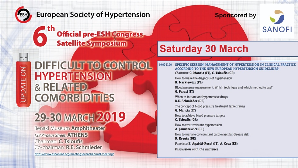Congresses | Management of Hypertension in Clinical Practice according to the new European Hypertension Guidelines