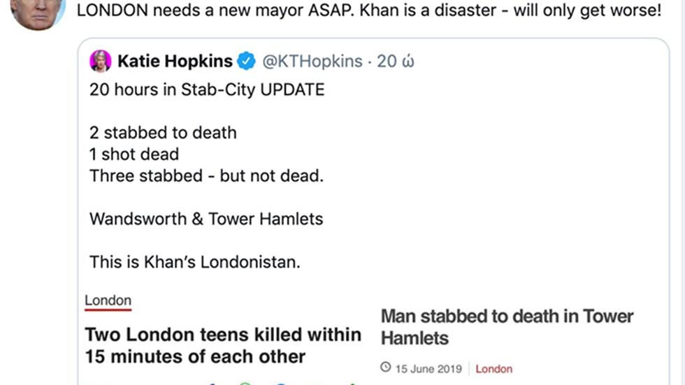 Ο Τραμπ ξανά κατά του δημάρχου του Λονδίνου   Επίθεση κατά του...