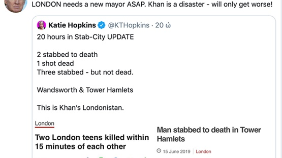 Ο Τραμπ ξανά κατά του δημάρχου του Λονδίνου