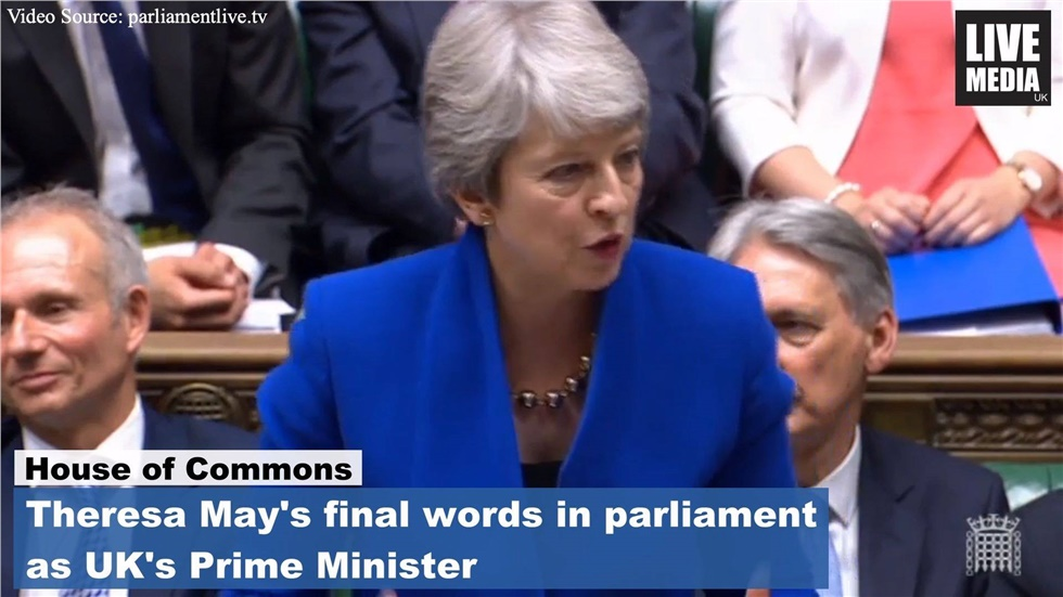 Theresa May's final words in parliament as UK's Prime Minister....