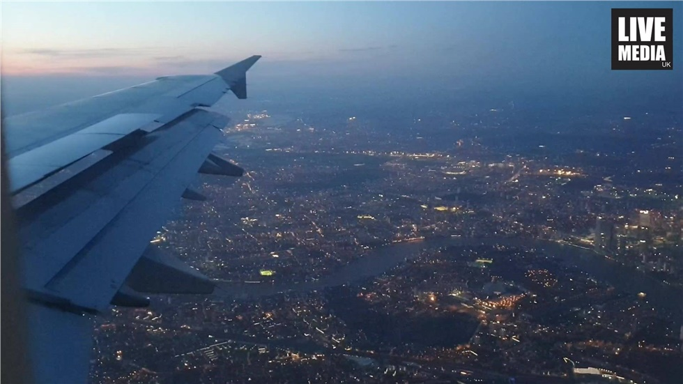 Spectacular views of London on an afternoon flight above the...