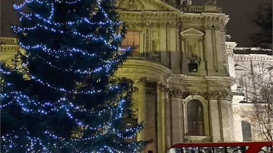 Christmas decorations outside St. Paul's Cathedral in London....