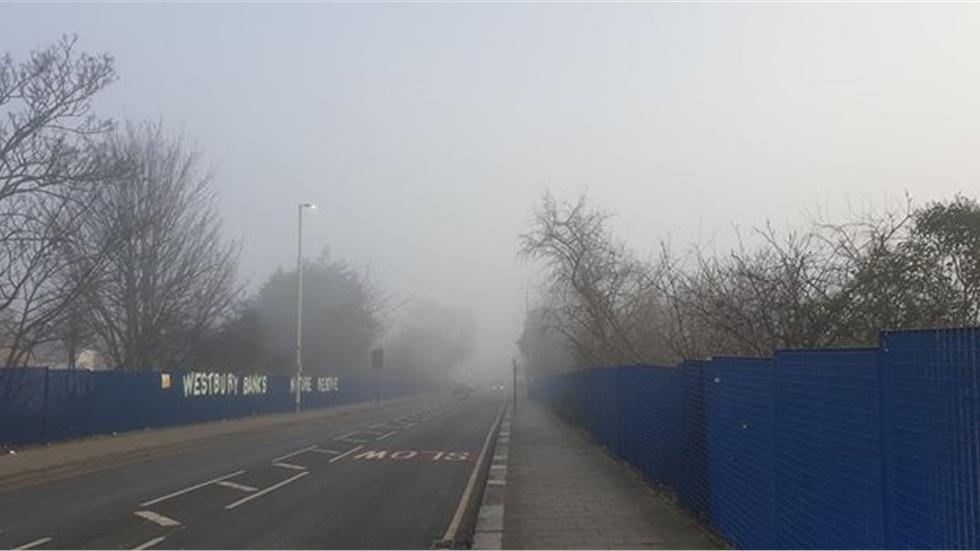 Misty morning in London.