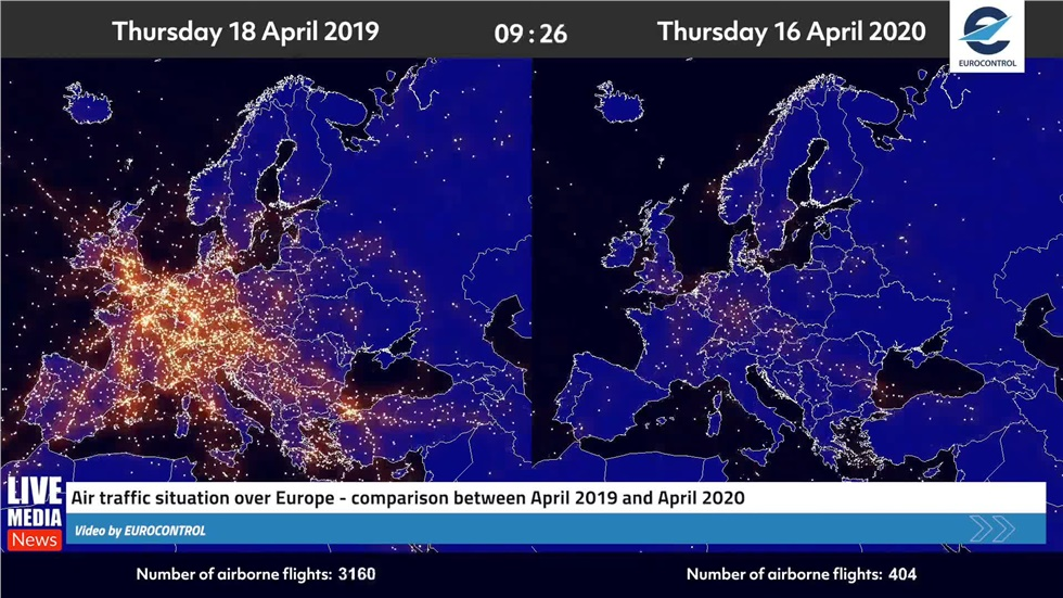 Europe's airspace has dramatically changed due to the coronavirus...